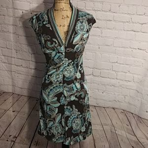 Trina Turk Blue and Brown Floral and Swirl Dress